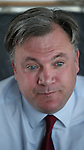 © Joel Goodman - 07973 332324 . 11/04/2015 . Bury , UK . ED BALLS . Labour Shadow Chancellor Ed Balls and James Frith , Labour candidate for Bury North , at a campaign stop at Barista coffee shop at The Rock , Bury in Greater Manchester , UK . The pair met parents and discussed family finances . Photo credit : Joel Goodman
