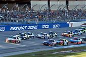 #12: Ryan Blaney, Team Penske, Ford Fusion REV, #9: Chase Elliott, Hendrick Motorsports, Chevrolet Camaro NAPA NIGHTVISION LAMPS, #11: Denny Hamlin, Joe Gibbs Racing, Toyota Camry FedEx Ground