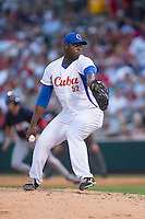Cuban National Team relief pitcher Erlys Casanova Callaba (52) in action against the US Collegiate National Team at BB&T BallPark on July 4, 2015 in Charlotte, North Carolina.  The United State Collegiate National Team defeated the Cuban National Team 11-1.  (Brian Westerholt/Four Seam Images)