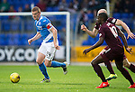 St Johnstone v Hearts…10.08.16..  McDiarmid Park…BetFred Cup<br />Brian Easton gets away from Arnaud Dkoum and Conor Sammon<br />Picture by Graeme Hart.<br />Copyright Perthshire Picture Agency<br />Tel: 01738 623350  Mobile: 07990 594431