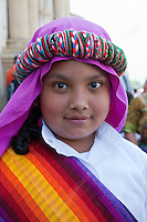 Young Girl Dressed in Biblical Costume.  Palm Sunday Re-enactment of events in the life of Jesus, by the group called Luna LLena (Full Moon), a group of volunteers in Antigua, Guatemala.