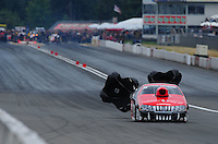 Aug. 6, 2011; Kent, WA, USA; NHRA pro stock driver V. Gaines during qualifying for the Northwest Nationals at Pacific Raceways. Mandatory Credit: Mark J. Rebilas-