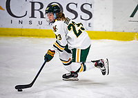 2 February 2020: University of Vermont Catamount Forward Hailey Burns, a Freshman from Kirkland, Québec, in third period action against the Holy Cross Crusaders at Gutterson Fieldhouse in Burlington, Vermont. The Lady Cats rallied in the 3rd period to tie the Crusaders 2-2 in NCAA Women's Hockey East play. Mandatory Credit: Ed Wolfstein Photo *** RAW (NEF) Image File Available ***