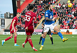 Aberdeen v St Johnstone…14.09.19   Pittodrie   SPFL<br />Stevie May takes the ball from Zak Vyner<br />Picture by Graeme Hart.<br />Copyright Perthshire Picture Agency<br />Tel: 01738 623350  Mobile: 07990 594431
