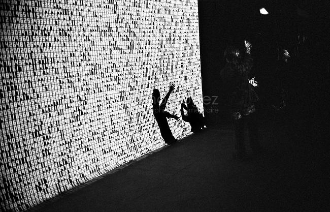 FRANCE, Paris, 18 Décembre 2008.En décembre, dans le cadre de l'exposition Dans la nuit, les images au Grand Palais, il expose Data.tron, autre pièce monumentale, une nouvelle fois inspirée par les mathématiques..FRANCE, December 18th 2008. As part of the exhibition Dans la nuit, les images at the Grand Palais, he presents Data.tron, another monumental work, again inspired by mathematics..© Bruno Cogez