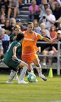 Keeley Dowling (orange) , Sara Walsh...Saint Louis Athletica defeated Sky Blue F.C 1-0, at Anheuser-Busch Soccer Park, Fenton, MO.