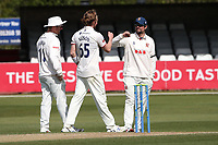 Ben Allison of Essex celebrates with his team mates after taking the wicket of Joe Leach during Essex CCC vs Worcestershire CCC, LV Insurance County Championship Group 1 Cricket at The Cloudfm County Ground on 11th April 2021
