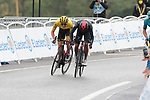 Richard Carapaz (ECU) Ineos Grenadiers and race leader Tadej Pogacar (SLO) UAE Team Emirates sprint for the finish line at the end of Stage 16 of the 2021 Tour de France, running 169km from Pas de la Case to Saint-Gaudens, Andorra. 13th July 2021.  <br /> Picture: Colin Flockton   Cyclefile<br /> <br /> All photos usage must carry mandatory copyright credit (© Cyclefile   Colin Flockton)