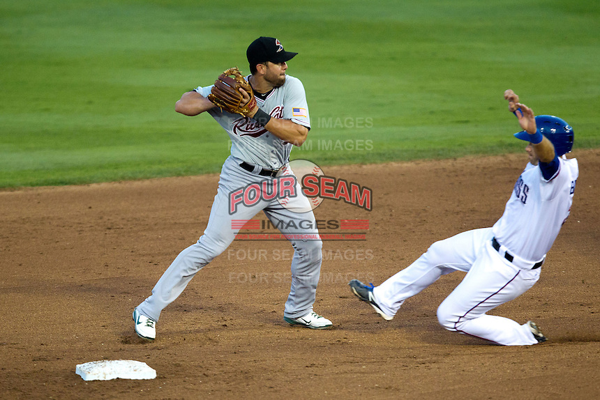 Sacramento River Cats shortstop Brandon Hicks #9 turns a double play during the Pacific Coast League baseball game against the Round Rock Express on May 22, 2012 at The Dell Diamond in Round Rock, Texas. The Express defeated the River Cats 11-5. (Andrew Woolley/Four Seam Images)
