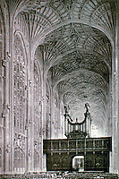 Historical photo: King's College Chapel, Cambridge University, one of the finest examples of late Perpendicular Gothic English architecture and features the world's largest fan vault.