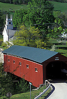 covered bridge, church, Vermont, VT, Arlington, Scenic view of The Bridge at the Green Covered Bridge and Church in West Arlington in the spring.