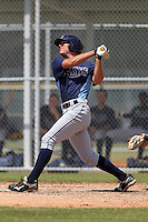 Tampa Bay Rays outfielder Granden Goetzman #56 at bat during a spring training game against the Baltimore Orioles at the Buck O'Neil Complex on March 21, 2012 in Sarasota, Florida.  (Mike Janes/Four Seam Images)