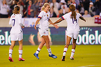 HOUSTON, TX - JANUARY 31: Tobin Heath #7, Lindsey Horan #9 and Jessica McDonald #14 of the United States celebrate a goal together during a game between Panama and USWNT at BBVA Stadium on January 31, 2020 in Houston, Texas.