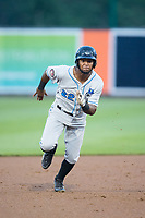 Angel Perez (22) of the Hudson Valley Renegades hustles towards third base against the Aberdeen IronBirds at Leidos Field at Ripken Stadium on July 27, 2017 in Aberdeen, Maryland.  The IronBirds defeated the Renegades 3-0 in game two of a double-header.  (Brian Westerholt/Four Seam Images)