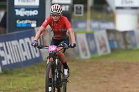 28th August 2021; Commezzadura, Trentino, Italy;  2021 Mountain Bike Cycling World Championships, Val di Sole; Cross Country, Womens Under 23, Virag Buzsaki (HUN)