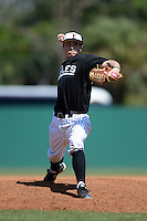 Edgewood Eagles pitcher Blake Bieri (21) during the second game of a doubleheader against the Defiance Yellow Jackets at the Terry Park Sports Complex on March 11, 2014 in Fort Myers, Florida.  Defiance defeated Edgewood 9-6.  (Mike Janes/Four Seam Images)