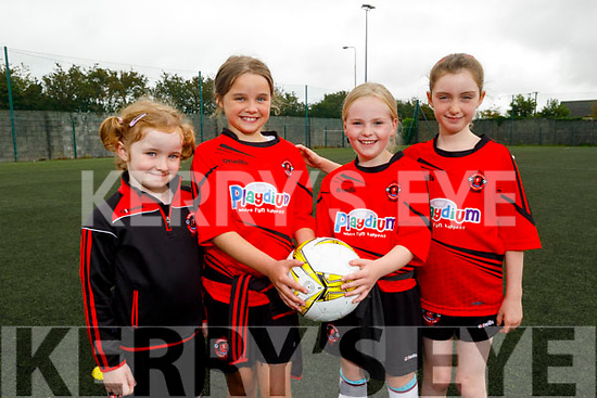 Enjoying the Park FC Summer Camp in Christy Leahy Park on Monday.<br /> L to r: Roisin Diggins, Eve McEvoy, Lily May Fisher and Isabelle Freeman.