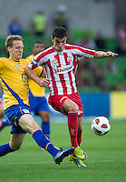 MELBOURNE, AUSTRALIA - OCTOBER 23: Eli Babalj of the Heart controls the ball during the A-League match between the Melbourne Heart and Gold Coast United at AAMI Park on October 23, 2010 in Melbourne, Australia. (Photo by Sydney Low / Asterisk Images)