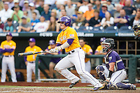LSU Tigers catcher Kade Scivicque (22) prepares to run to first base against the TCU Horned Frogs in Game 10 of the NCAA College World Series on June 18, 2015 at TD Ameritrade Park in Omaha, Nebraska. TCU defeated the Tigers 8-4, eliminating LSU from the tournament. (Andrew Woolley/Four Seam Images)