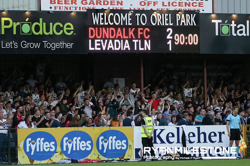 General View of the final score during the UEFA Europa League First Qualifying Round Second Leg between Dundalk FC and Levadia Tallinn on Thursday 19th July 2018 at Oriel Park, Dundalk, Co Louth. Photo By Michael P Ryan