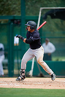 GCL Yankees West left fielder Stanley Rosario (38) follows through on a swing during the second game of a doubleheader against the GCL Braves on July 30, 2018 at Champion Stadium in Kissimmee, Florida.  GCL Braves defeated GCL Yankees West 5-4.  (Mike Janes/Four Seam Images)