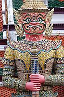 Bangkok, Thailand.  Yaksha(Demon) Guardian, Royal Grand Palace Compound.