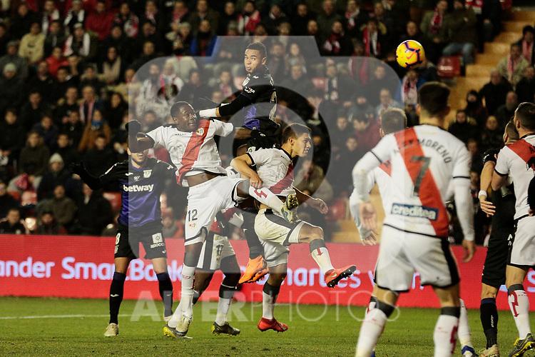 Rayo Vallecano's Giannelli Imbula and CD Leganes's Youssef En-Nesyri during La Liga match between Rayo Vallecano and CD Leganes at Vallecas Stadium in Madrid, Spain. February 04, 2019. (ALTERPHOTOS/A. Perez Meca)