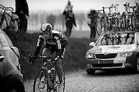 De Ronde van Vlaanderen 2012..Juan Antonio Flecha on the Holleweg cobbles trying to catch up with the peloton