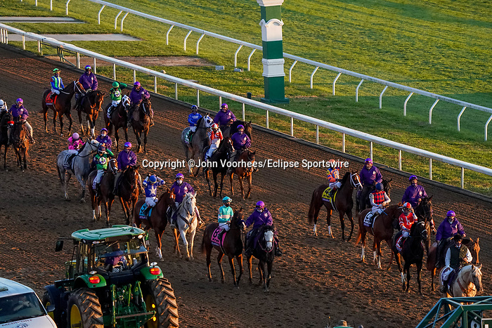 November 6, 2020: Horses get ready to race the TVG Juvenile Presented By Thoroughbred Aftercare Alliance on Breeders' Cup Championship Friday at Keeneland on November 6, 2020: in Lexington, Kentucky. John Voorhees/Eclipse Sportswire/Breeders Cup/CSM
