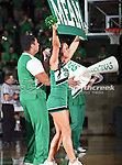 North Texas Mean Green cheerleaders in action during the NCAA Women's basketball game between the Arkansas State Red Wolves and the University of North Texas Mean Green at the North Texas Coliseum,the Super Pit, in Denton, Texas. Arkansas State defeated UNT 62 to 59