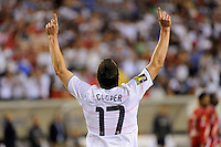 Kenny Cooper (17) of the United States (USA) celebrates scoring. The United States (USA) defeated Panama (PAN) 2-1 during a quarterfinal match of the CONCACAF Gold Cup at Lincoln Financial Field in Philadelphia, PA, on July 18, 2009.