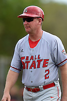 Ball State Cardinals head coach Rich Maloney (2) during a game against the Dartmouth Big Green on March 7, 2015 at North Charlotte Regional Park in Port Charlotte, Florida.  Ball State defeated Dartmouth 7-4.  (Mike Janes/Four Seam Images)