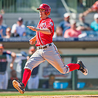 15 March 2016: Washington Nationals outfielder Brendan Ryan comers home to score during a Spring Training pre-season game against the Houston Astros at Osceola County Stadium in Kissimmee, Florida. The Nationals defeated the Astros 6-4 in Grapefruit League play. Mandatory Credit: Ed Wolfstein Photo *** RAW (NEF) Image File Available ***