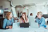 TechSisters Hanna-Mari Kirs, Janika Liiv und Mari-Liis Lind in einem Büro im Kreativviertel Telliskivi in Tallinn (Estland), das sie mit anderen Startups teilen.