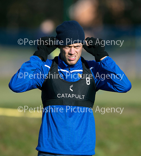St Johnstone Training…29.10.19<br />Murray Davidson pictured during training this morning at McDiarmid Park ahead of tomorrow's game against Hearts.<br />Picture by Graeme Hart.<br />Copyright Perthshire Picture Agency<br />Tel: 01738 623350  Mobile: 07990 594431