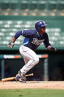 Tampa Bay Rays Moises Gomez (80) during an Instructional League game against the Baltimore Orioles on September 19, 2016 at Ed Smith Stadium in Sarasota, Florida.  (Mike Janes/Four Seam Images)
