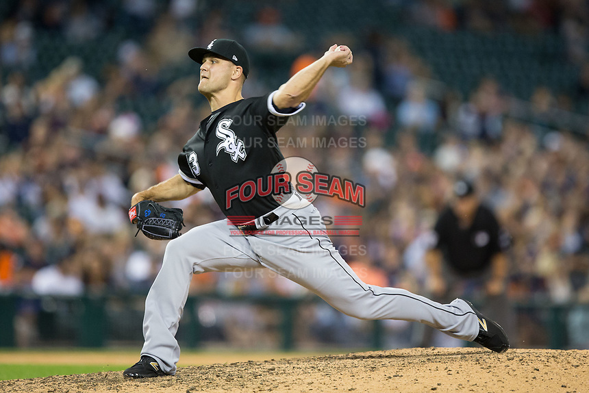 Chicago White Sox relief pitcher Dan Jennings (43) in action against the Detroit Tigers at Comerica Park on June 2, 2017 in Detroit, Michigan.  The Tigers defeated the White Sox 15-5.  (Brian Westerholt/Four Seam Images)