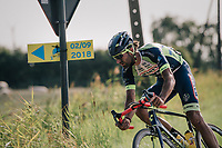 """Guillaume Van Keirsbulck (BEL/Wanty-Groupe Gobert) leading solo<br /> <br /> Antwerp Port Epic 2018 (formerly """"Schaal Sels"""")<br /> One Day Race:  Antwerp > Antwerp (207 km; of which 32km are cobbles & 30km is gravel/off-road!)"""