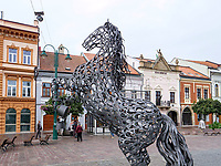 Pferdeplastik  am Hauptplatz Hlavna nam., Presov, Presovsky kraj, Slowakei, Europa<br /> Horse sculpture at main square Hlavna nam. in Presov, Presovsky kraj, Slovakia, Europe