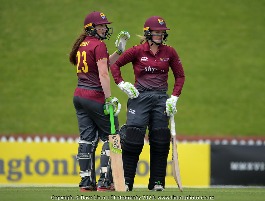 Northern's Katie Gurrey (left) and Brooke Halliday during the women's Hallyburton Johnstone Shield one-day cricket match between the Wellington Blaze and Northern Districts at the Basin Reserve in Wellington, New Zealand on Sunday, 22 November 2020. Photo: Dave Lintott / lintottphoto.co.nz