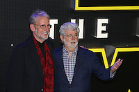 George Lucas (right) attends the STAR WARS: 'The Force Awakens' EUROPEAN PREMIERE at Odeon, Empire & Vue Cinemas, Leicester Square, England on 16 December 2015. Photo by David Horn / PRiME Media Images