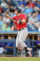 Frisco Rough Riders third baseman Ryan Rua (9) at bat during the second game of a doubleheader against the Tulsa Drillers on May 29, 2014 at ONEOK Field in Tulsa, Oklahoma.  Frisco defeated Tulsa 3-2.  (Mike Janes/Four Seam Images)