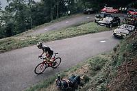 Romain Sicard (FRA/Direct Energie) up the Mur de Péguère (Cat1/1375m/9.3km/7.9%)<br /> <br /> 104th Tour de France 2017<br /> Stage 13 - Saint-Girons › Foix (100km)