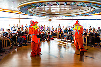 Argentina, Ushuaia, Antarctica expedition aboard the Hurtigruten FRAM ship. Demonstration of survival suits.