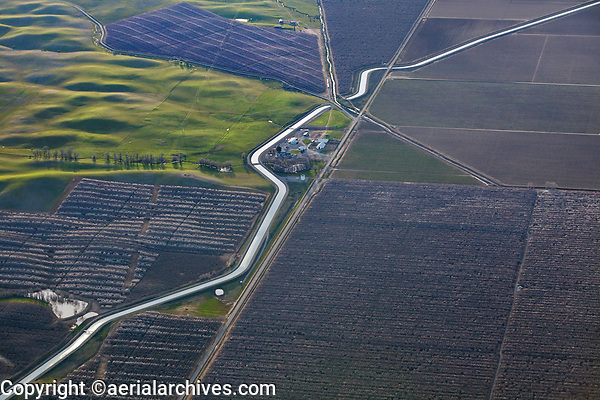 aerial photograph of California Central Valley aqueduct