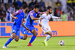 Ali Jaafar Madan of Bahrain (R) is tackled by Salam Ranjan Singh of India (C) during the AFC Asian Cup UAE 2019 Group A match between India (IND) and Bahrain (BHR) at Sharjah Stadium on 14 January 2019 in Sharjah, United Arab Emirates. Photo by Marcio Rodrigo Machado / Power Sport Images