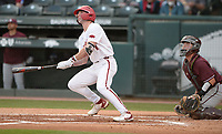 Arkansas right fielder Cayden Wallace watches Tuesday, April 6, 2021, as a solo home run leaves the field during the first inning of play against UALR at Baum-Walker Stadium in Fayetteville. Visit nwaonline.com/210407Daily/ for today's photo gallery. <br /> (NWA Democrat-Gazette/Andy Shupe)