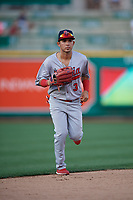 Peoria Chiefs outfielder Jonatan Machado (3) during a Midwest League game against the Fort Wayne TinCaps on July 17, 2019 at Parkview Field in Fort Wayne, Indiana.  Fort Wayne defeated Peoria 6-2.  (Mike Janes/Four Seam Images)
