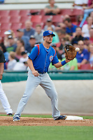 South Bend Cubs first baseman Austin Upshaw (16) receives a throw during a game against the Kane County Cougars on July 21, 2018 at Northwestern Medicine Field in Geneva, Illinois.  South Bend defeated Kane County 4-2.  (Mike Janes/Four Seam Images)