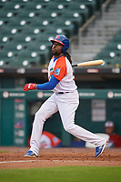 "Buffalo Bisons Alen Hanson (31) during an International League game against the Scranton/Wilkes-Barre RailRiders on June 5, 2019 at Sahlen Field in Buffalo, New York.  The Bisons wore special uniforms as they played under the name the ""Buffalo Wings"". Scranton defeated Buffalo 3-0, the first game of a doubleheader. (Mike Janes/Four Seam Images)"
